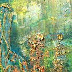 Femme avec voile au bord de l'étang